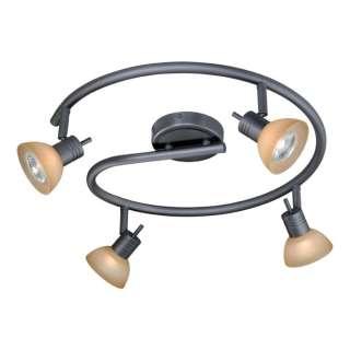 NEW 4 Light Track Spot Lighting Fixture, Dark Bronze, Brushed Cognac