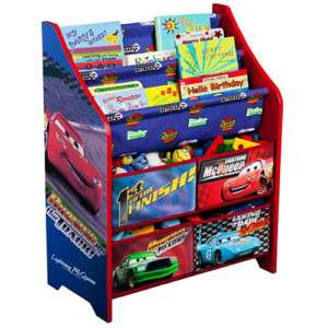 NEW Disney CARS BOOK RACK+TOY ORGANIZER Storage Bin Set