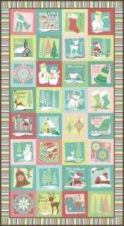 Snow Angels Jingle Bells Christmas Holiday Panel Fabric
