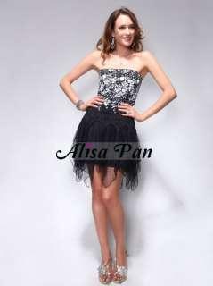 Black White Vogue Lace Strapless Mini Homecoming Prom Dresses 00202 US