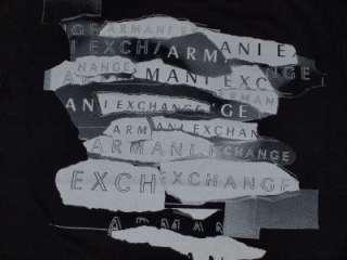 Armani Exchange Torn Logo T Shirt Black NWT