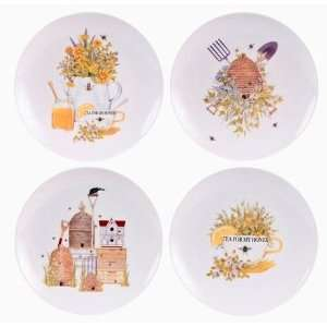 Gift Set of 4 Honey Bee & Beehives Dessert Plates, 8.5 Inches, 4
