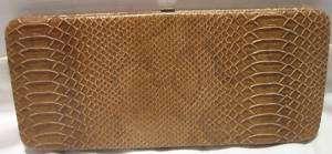 Camel Beige Brown Long Flat Wallet by Paige Faux Snake Skin Fashion