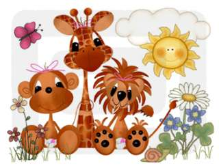 GIRAFFE LION SAFARI NURSERY BABY GIRL WALL BORDER STICKERS DECALS