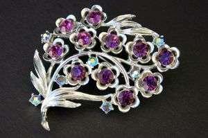 Vtg Star Brand Rhinestone Glitz Purple and blue AB Floral Brooch Pin