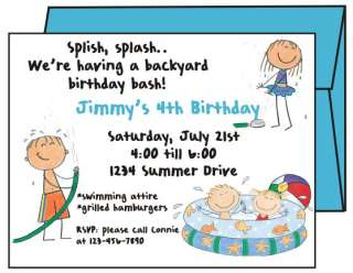 Backyard WATER FUN Custom Birthday Party Invitations