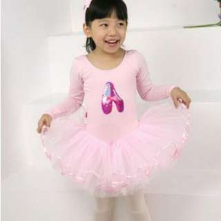 Pink Girls Party Leotard Ballet Tutu Costume Long Sleeve Dance Skate