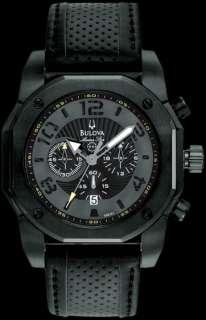Bulova Marine Star Chronograph Black On Black Leather Mens Watch