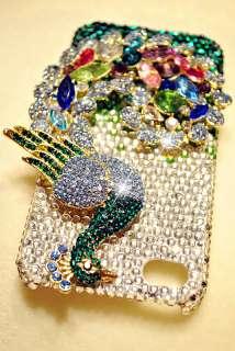 Fancy GREEN & BLUE PEACOCK iPhone 4 & 4S Bling Crystal Case Swarovski