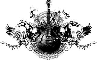 Guitar Skull music rock band bone design t shirt