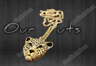 Charming Ladies Rhinestone Leopard Tiger Head Chain Necklace Sweater
