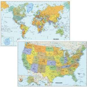 Map Set World Map Plus United States Map (Pack of 2 Removable Map