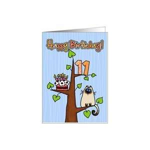 Birthday   11 years old   Kitty and Cake in tree Card: Toys & Games