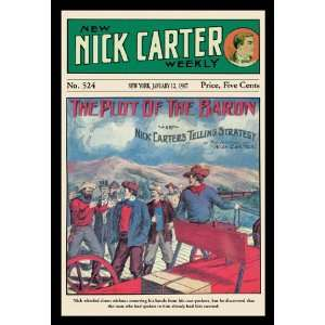 Nick Carter The Plot of the Baron 20X30 Paper with Black Frame