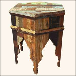 Rustic Reclaimed Wood Distressed Bedside End Table Nightstand