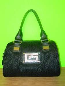 New GUESS Rena G Logo Black Canvas Rhinestones PURSE Handbag Tote Bag