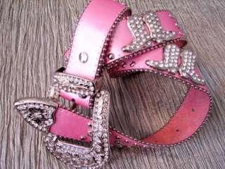 Western Leather COWGIRL Rhinestone Crystal SHOW Belt SM