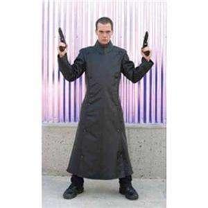 GOTHIC Matrix KLERIK Mens Long Black NYLON COAT COSTUME S XL New