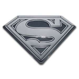 Superman 3D shield chrome metal emblem with black