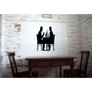 Date Meeting in Restaurant Cafe Love Wall Vinyl Sticker