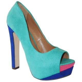 Trendy Teal Blue Multi Color Suede Peep Toe Sky High Platform Chunky