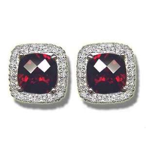 .20 ct 2 8mm Checker Cut Garnet White Gold Earring Jewelry