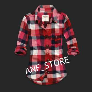 ABERCROMBIE Plaid Dress RED Women Shirt Top M MEDIUM Flannel Shirt