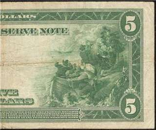 LARGE 1914 $5 DOLLAR BILL FEDERAL RESERVE BANK NOTE Fr 868 OLD PAPER