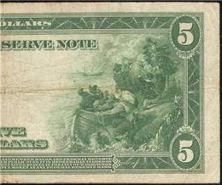 LARGE 1914 $5 DOLLAR BILL FEDERAL RESERVE BANK NOTE Fr 868 OLD PAPER