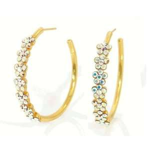 Stylish Michal Negrin 24Karat Gold Plated Hoop Earrings Enriched with