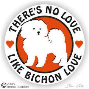 Bichon Frise Dog Love Auto Window Decal Sticker 116