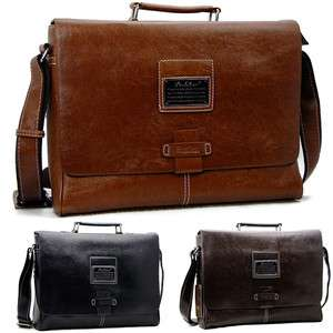 big Mens fashion leather messenger bag briefcase shoulder hand bag