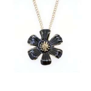 Gold Tone Black Sun Flower Pendant Necklace Jewelry