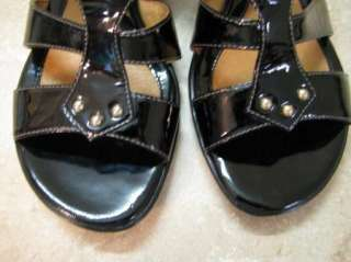 SOFFT Lia Black Patent WEDGE SHOES Gold Trim LEATHER 9M