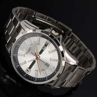 New Mens Stainless Steel White Dial Elegant Date Analog Quartz Mens