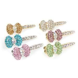 Set of 6 Pretty Bow Rhinestone Hair Clips Accessory Jewelry