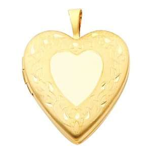 14K Yellow Gold Engraved Heart Locket Pendant (0.8 Inches