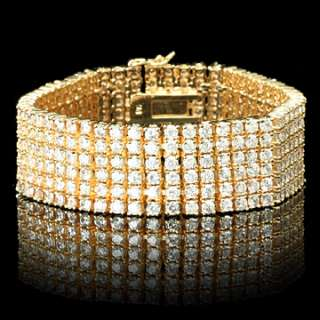 Bling Bling Mens Gold Plated 6 Rows CZ Hip Hop Bracelet