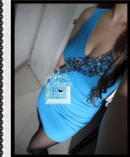 Sales   New Sexy Party Clubwear Blue Blink Blink Sequin Mini Dress M