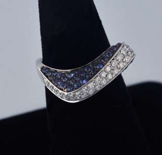 Gubelin 18k White Gold Blue Sapphire Diamond Ring