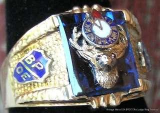 Gold Ring w 3 D Elks Head & Enamel Clock on Blue Spinel c1940s