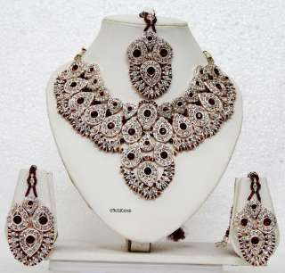 Bridal Maroon Necklace Earring Sets,Bollywood,Sari,Octone