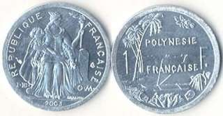 FRENCH POLYNESIA6 PIECE COIN SET, 1 TO 100 FRANCS