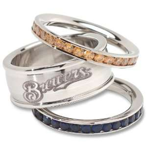 MLB Milwaukee Brewers Logo Crystal Stacked Ring Set