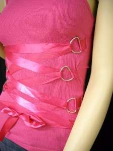 NEW LEANA COUTURE Pink Ribbon Corset Tank Top Medium