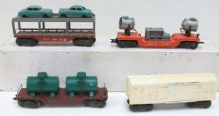 Postwar Freight Cars (Auto Flatcar, Boxcar, Flatcar, Searchlight Ca