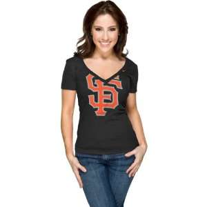 San Francisco Giants Womens Nike Black Deep V Neck Burnout T Shirt