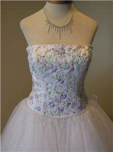 NWOT Winnie Couture wedding dress bridal gown quinceanera White/multi