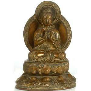 Buddha in Dharmachakra Mudra   Brass Sculpture Home