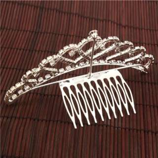 Fashion Bridal Rhinestone Crown Hair Comb Pin Tiara